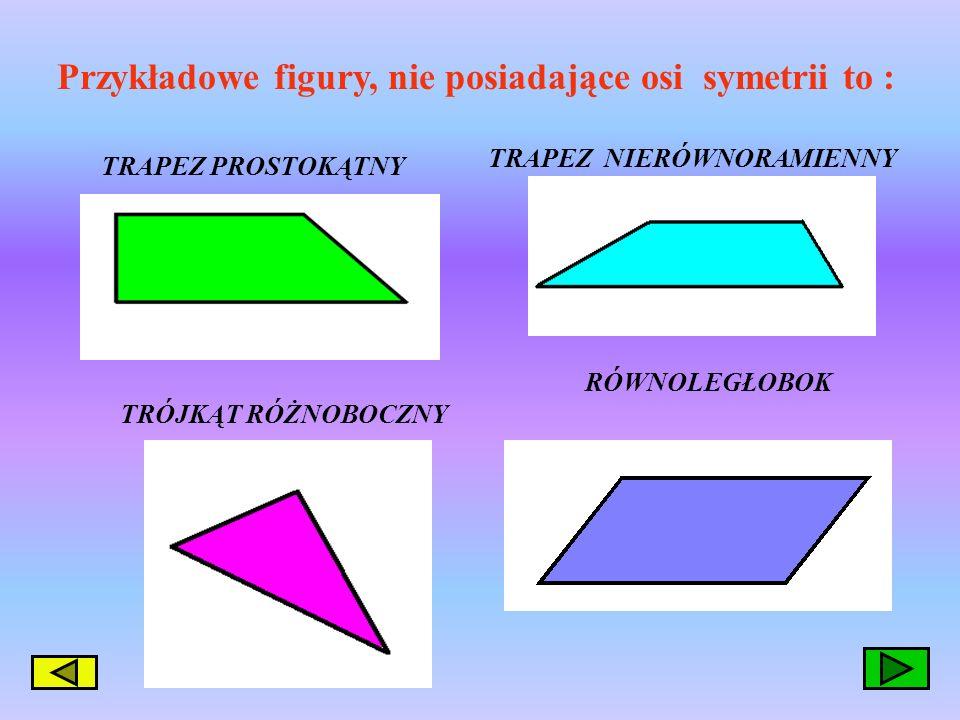 Czy umiesz podać przykłady figur nie posiadających osi symetrii ?? A czy umiesz podać przykłady figur, które mają więcej niż jedną oś symetrii. A czy