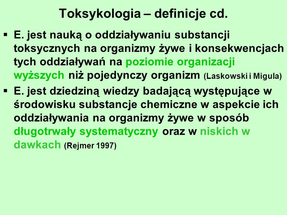 Plan wykładów Wstęp Zanieczyszczenie środowiska Ekotoksykologia na poziomie molekularnym i komórkowym Ekotoksykologia na poziomie osobniczym Ekotoksykologia populacyjna Ekotoksykologia ekosystemowa Ekotoksykologia stosowana