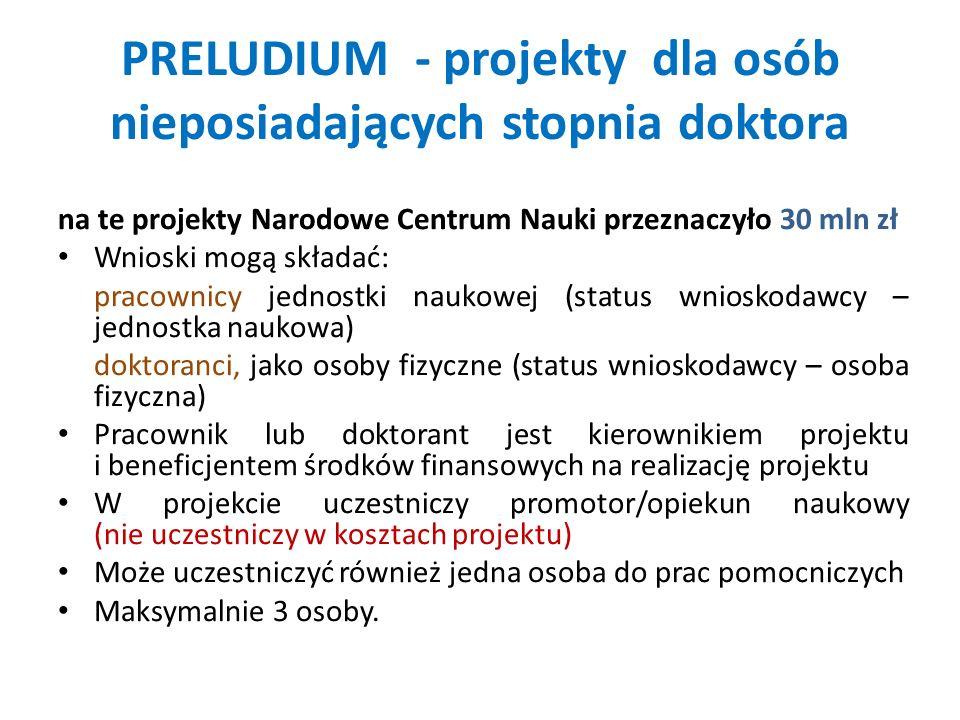 PRELUDIUM - projekty dla osób nieposiadających stopnia doktora na te projekty Narodowe Centrum Nauki przeznaczyło 30 mln zł Wnioski mogą składać: prac