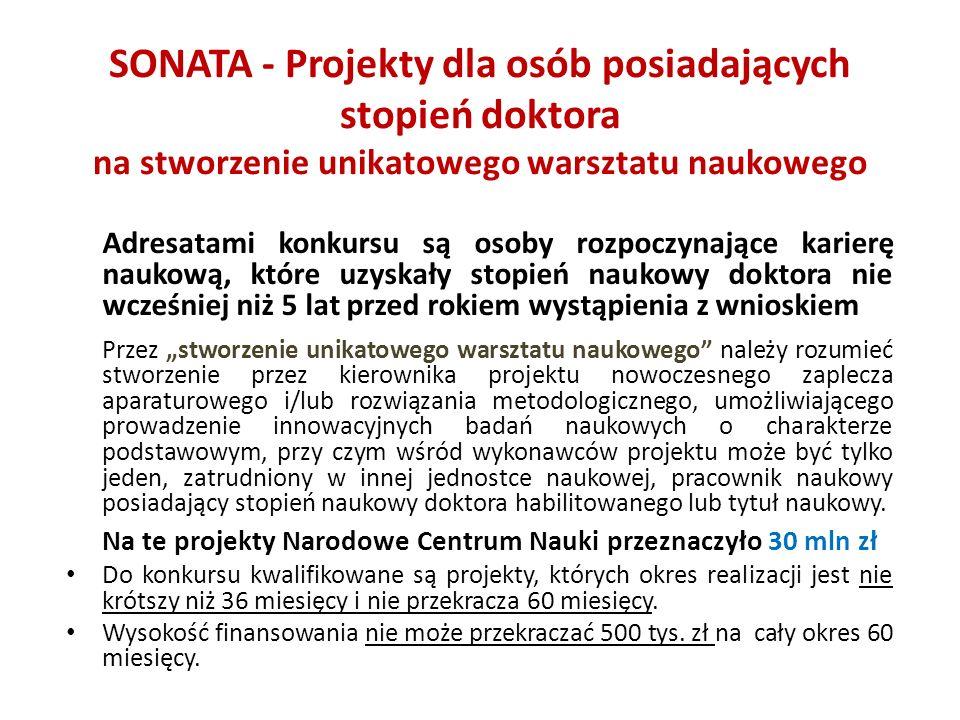 SONATA - Projekty dla osób posiadających stopień doktora na stworzenie unikatowego warsztatu naukowego Adresatami konkursu są osoby rozpoczynające kar