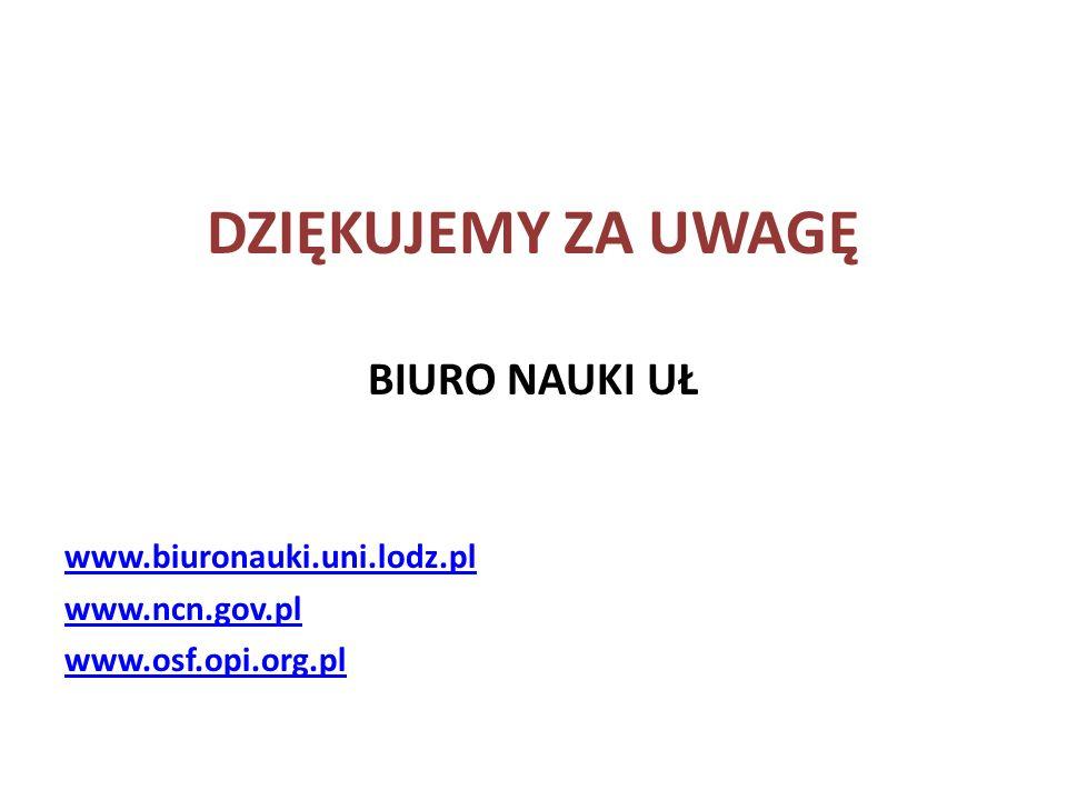 DZIĘKUJEMY ZA UWAGĘ BIURO NAUKI UŁ www.biuronauki.uni.lodz.pl www.ncn.gov.pl www.osf.opi.org.pl