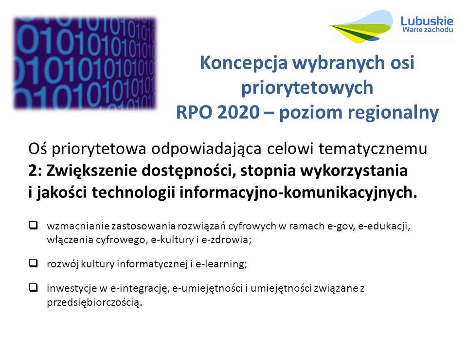 Koncepcja wybranych osi priorytetowych RPO 2020 – poziom regionalny Oś priorytetowa odpowiadająca celowi tematycznemu 2: Zwiększenie dostępności, stop