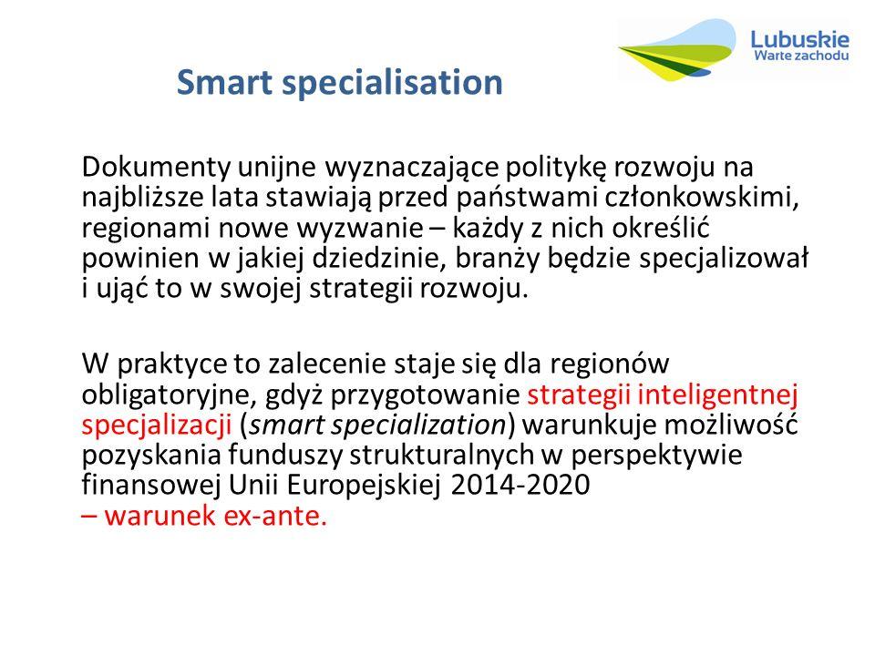 Smart specialisation Dokumenty unijne wyznaczające politykę rozwoju na najbliższe lata stawiają przed państwami członkowskimi, regionami nowe wyzwanie