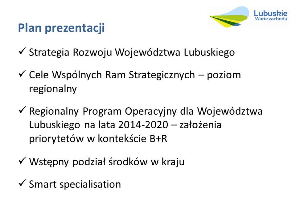 Plan prezentacji Strategia Rozwoju Województwa Lubuskiego Cele Wspólnych Ram Strategicznych – poziom regionalny Regionalny Program Operacyjny dla Woje