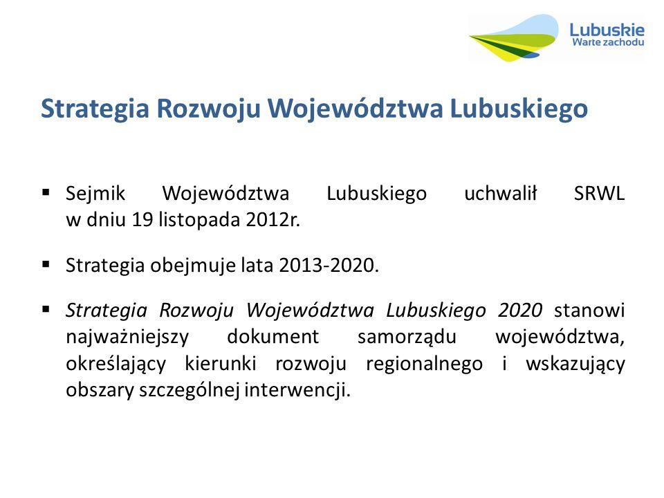 Strategia Rozwoju Województwa Lubuskiego Sejmik Województwa Lubuskiego uchwalił SRWL w dniu 19 listopada 2012r. Strategia obejmuje lata 2013-2020. Str