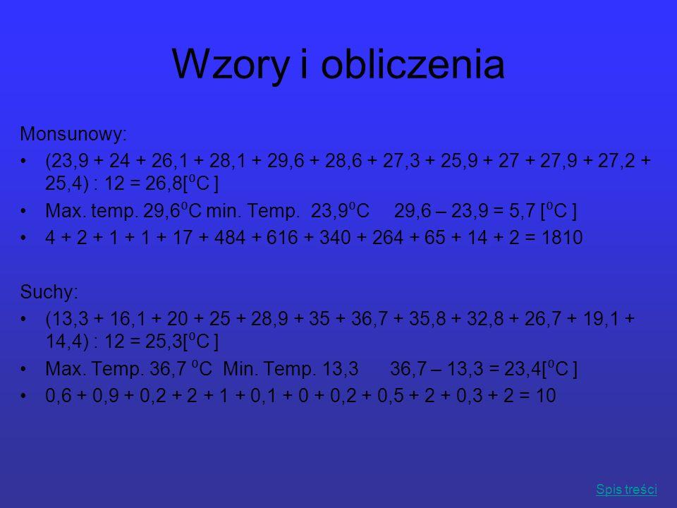 Wzory i obliczenia Monsunowy: (23,9 + 24 + 26,1 + 28,1 + 29,6 + 28,6 + 27,3 + 25,9 + 27 + 27,9 + 27,2 + 25,4) : 12 = 26,8[ C ] Max. temp. 29,6 C min.