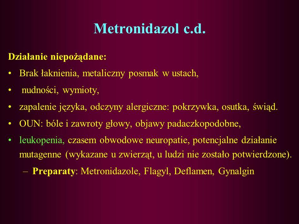 Metronidazol Farmakokinetyka: Dobrze się wchłania po podaniu p.o. jest metabolizowany w ustroju, powstają 2 metabolity (ok. 10% wydalane jest z żółcią