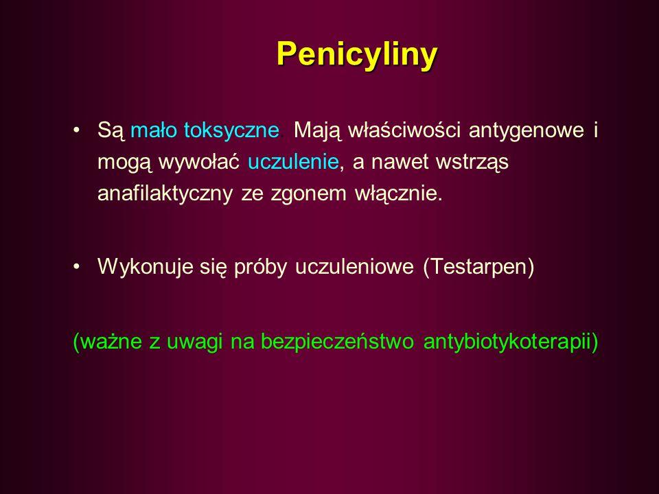 Penicyliny- zastosowanie Zakażenia gronkowcowe –ropnie, czyraki, zastrzały, ropowice, posocznica Paciorkowcowe – ropowice, róża, ropnie, zastrzały, an