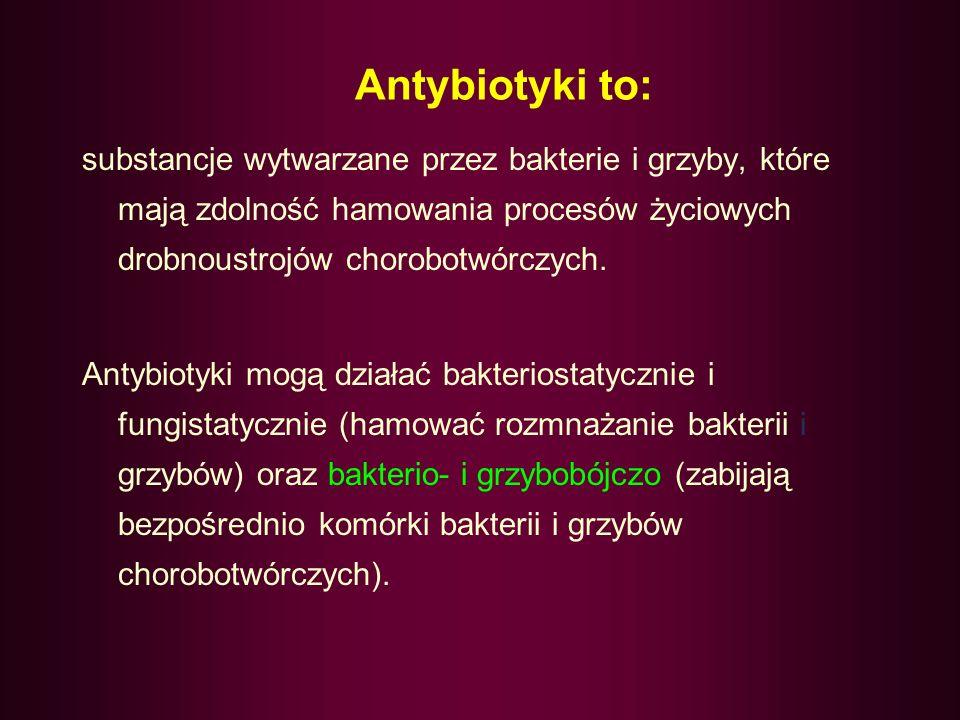 Penicyliny wytwarzane przez pleśń Penicillium notatum pierwsza była benzylopenicylina działają silnie bakteriobójczo na Gram-dodatnie (paciorkowce, maczugowce błonicy) oraz na Gram-ujemne (gonokoki, meningokoki, krętki blade) są mało toksyczne, ale mogą powodować odczyny alergiczne (zespół Hogne, wstrząs anafilaktyczny) wykonuje się próby uczuleniowe (Testarpen)(zalecane)