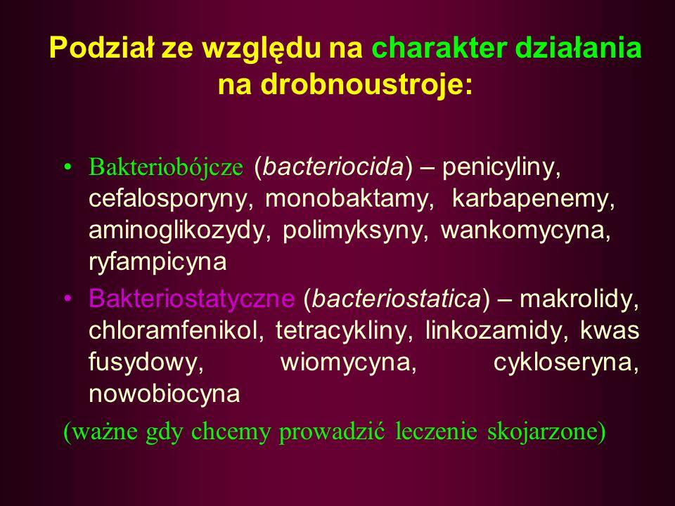 Podział ze względu na charakter działania na drobnoustroje: Bakteriobójcze (bacteriocida) – penicyliny, cefalosporyny, monobaktamy, karbapenemy, aminoglikozydy, polimyksyny, wankomycyna, ryfampicyna Bakteriostatyczne (bacteriostatica) – makrolidy, chloramfenikol, tetracykliny, linkozamidy, kwas fusydowy, wiomycyna, cykloseryna, nowobiocyna (ważne gdy chcemy prowadzić leczenie skojarzone)