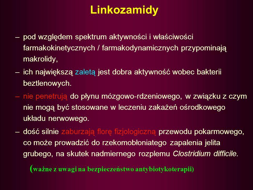 LINKOZAMIDY - LINKOMYCYNA - KLINDAMYCYNA Różnią się chemicznie od makrolidów, jednak charakteryzują się zbliżonym spektrum przeciwbakteryjnym, mechani