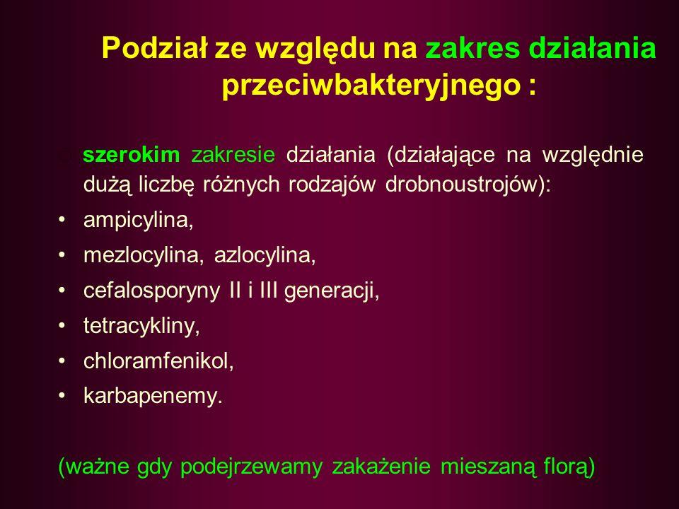 SPEKTRUM SZEROKIE – TLENOWE Gram (+) I (-) BEZTLENOWCE ZIARENKOWCE Gram(+) STREPTOCOCCUS (ENTEROCOCCUS) S.AUREUS S.EPIDERMIDIS PAŁECZKI Gram(-) ENTEROBACTERIACEAE, CAMPYLOBACTER, HELICOBACTER