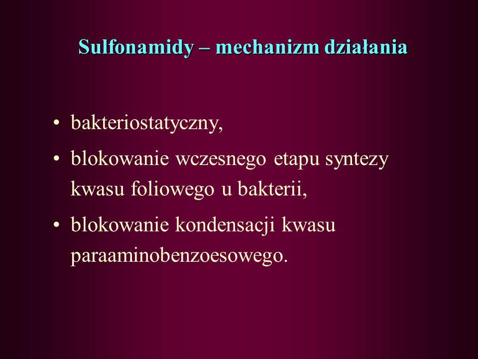 Sulfonamidy Działają przeciwbakteryjnie na: –Ziarenkowce Gram- dodatnie (paciorkowce,dwoinki zapalenia płuc, słabiej na gronkowce), Gram-ujemne (dwoin