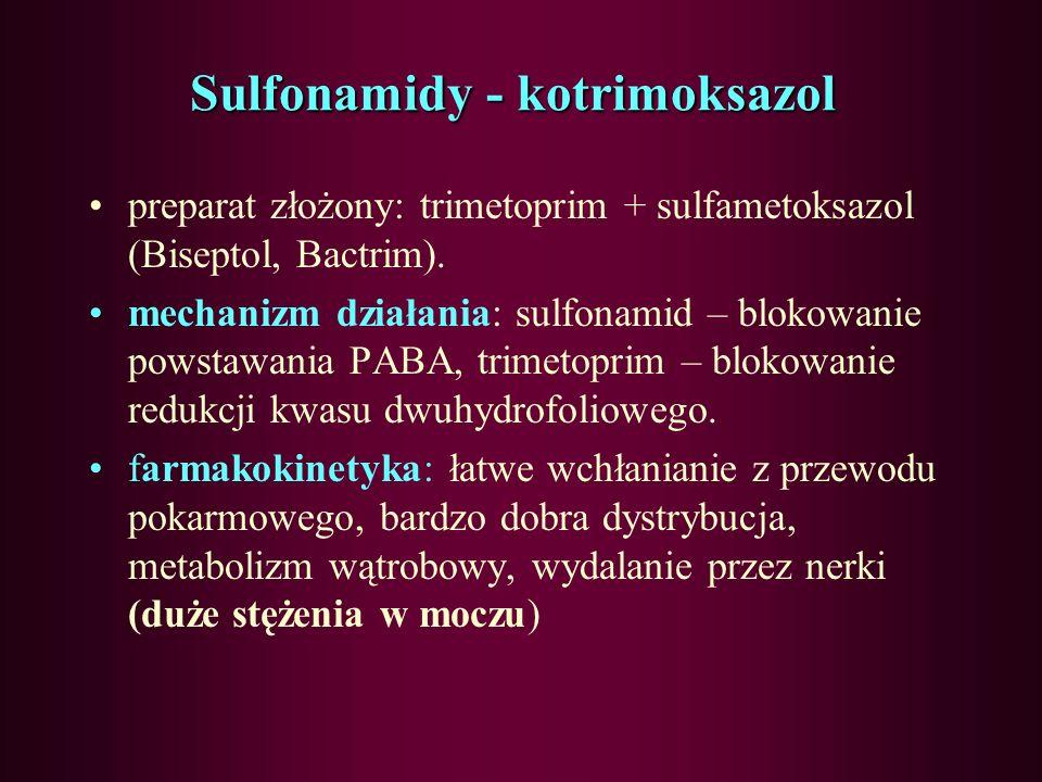 Sulfonamidy -farmakokinetyka wchłanianie: bardzo dobre z przewodu pokarmowego, dystrybucja: duży stopień wiązania z białkami, dobra penetracja do tkan
