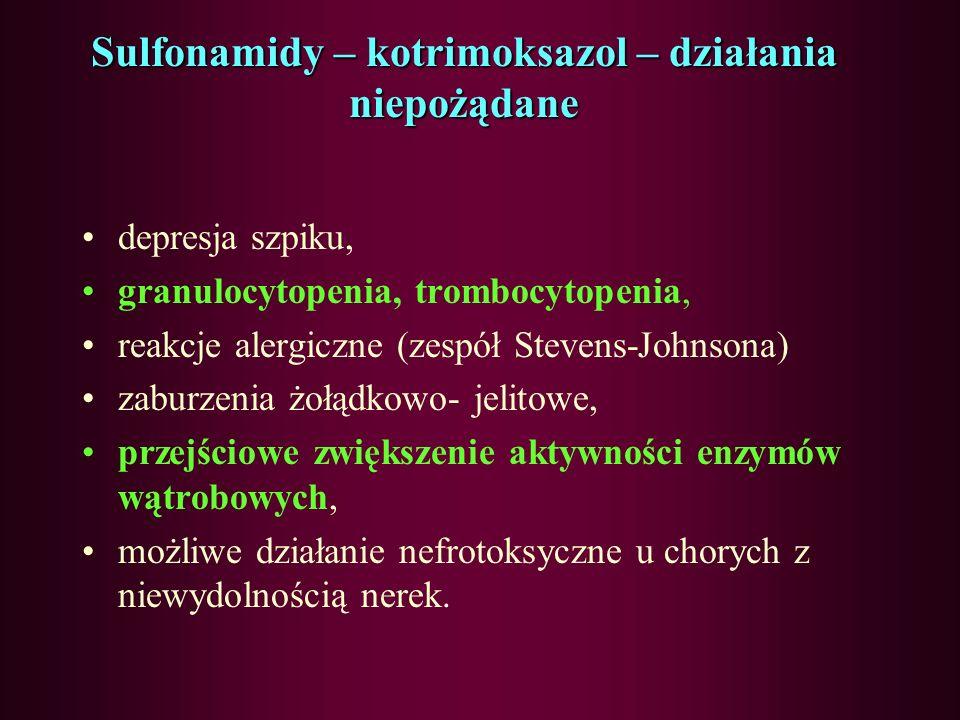 Sulfonamidy – kotrimoksazol wskazanie kliniczne zakażenia układu moczowego, zakażenia przewodu pokarmowego (Salmonella, Shigella), bruceloza, nokardio