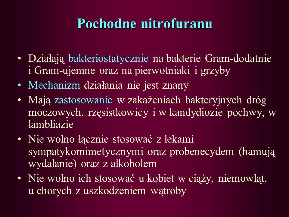 Sulfonamidy – kotrimoksazol – działania niepożądane depresja szpiku, granulocytopenia, trombocytopenia, reakcje alergiczne (zespół Stevens-Johnsona) z