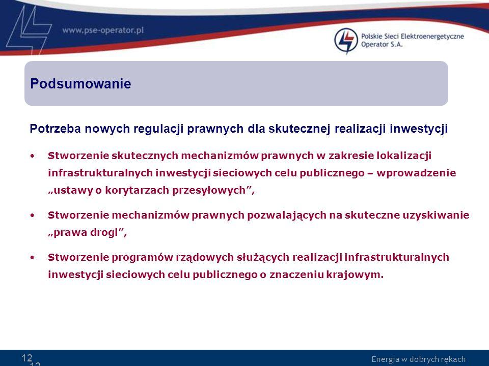 Energia w dobrych rękach 12 Potrzeba nowych regulacji prawnych dla skutecznej realizacji inwestycji Stworzenie skutecznych mechanizmów prawnych w zakr