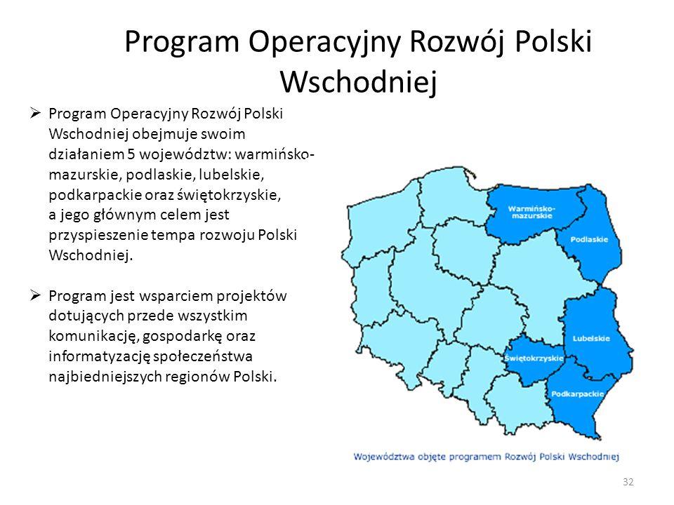 Program Operacyjny Rozwój Polski Wschodniej obejmuje swoim działaniem 5 województw: warmińsko- mazurskie, podlaskie, lubelskie, podkarpackie oraz świę