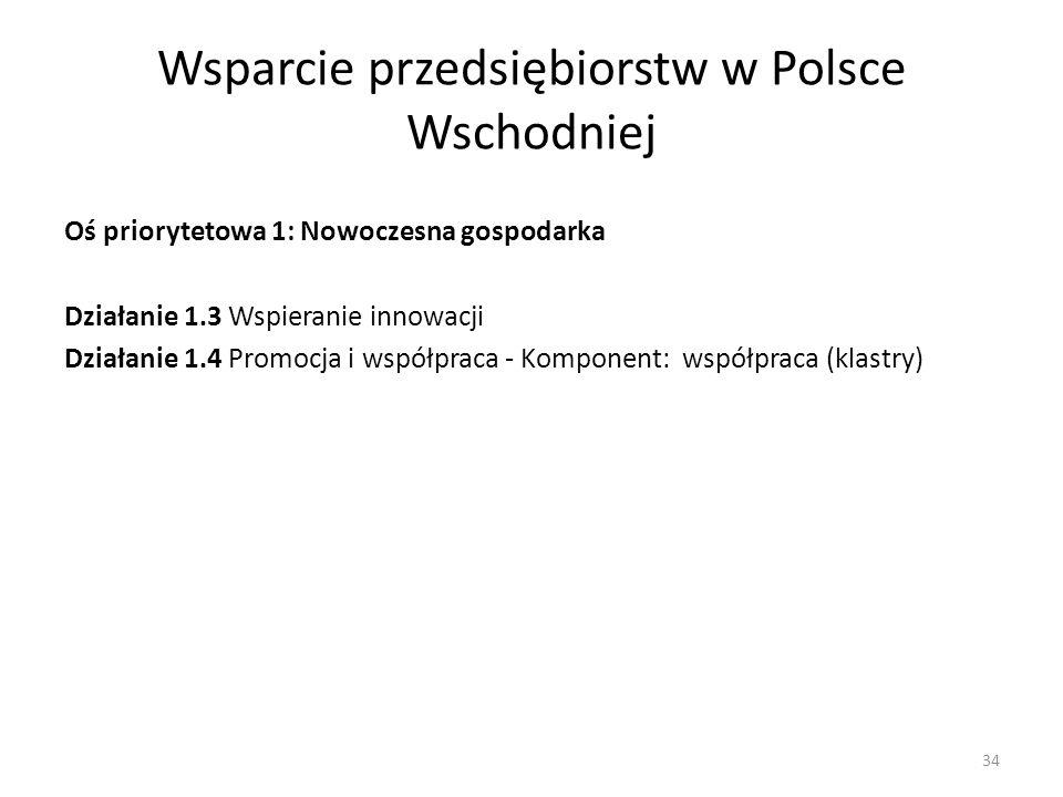Wsparcie przedsiębiorstw w Polsce Wschodniej Oś priorytetowa 1: Nowoczesna gospodarka Działanie 1.3 Wspieranie innowacji Działanie 1.4 Promocja i wspó