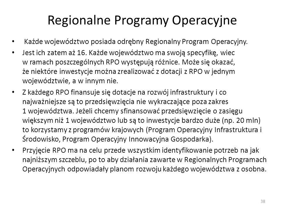 Regionalne Programy Operacyjne Każde województwo posiada odrębny Regionalny Program Operacyjny. Jest ich zatem aż 16. Każde województwo ma swoją specy