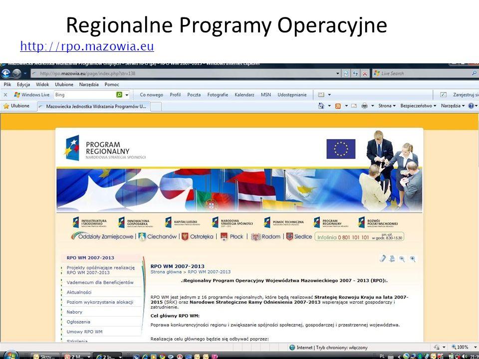 39 Regionalne Programy Operacyjne http://rpo.mazowia.eu