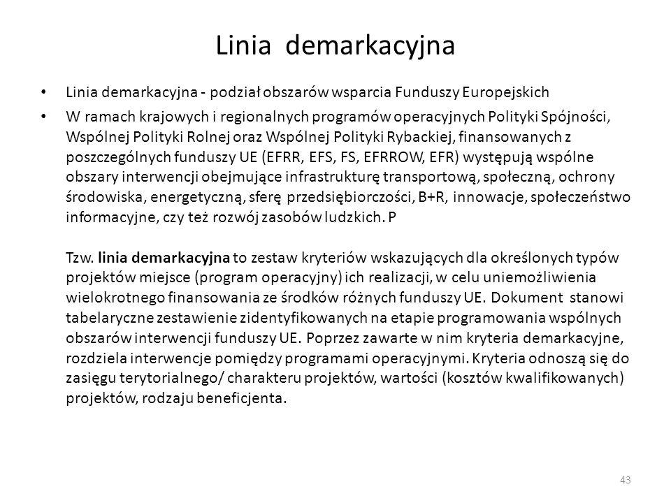 Linia demarkacyjna Linia demarkacyjna - podział obszarów wsparcia Funduszy Europejskich W ramach krajowych i regionalnych programów operacyjnych Polit