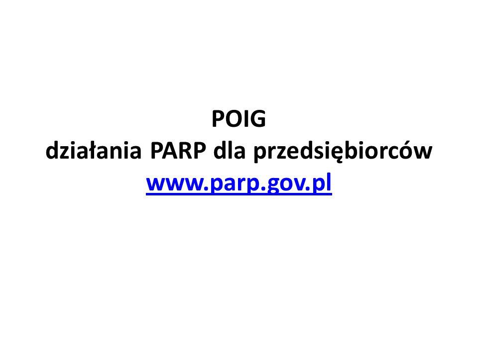 POIG działania PARP dla przedsiębiorców www.parp.gov.pl www.parp.gov.pl