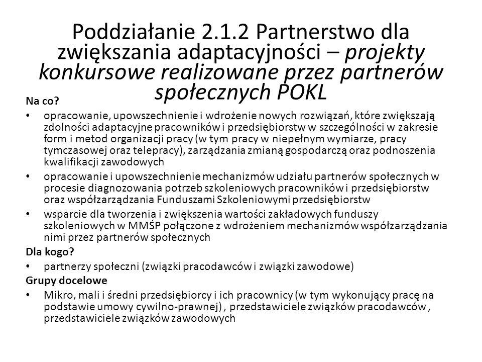 Poddziałanie 2.1.2 Partnerstwo dla zwiększania adaptacyjności – projekty konkursowe realizowane przez partnerów społecznych POKL Na co? opracowanie, u