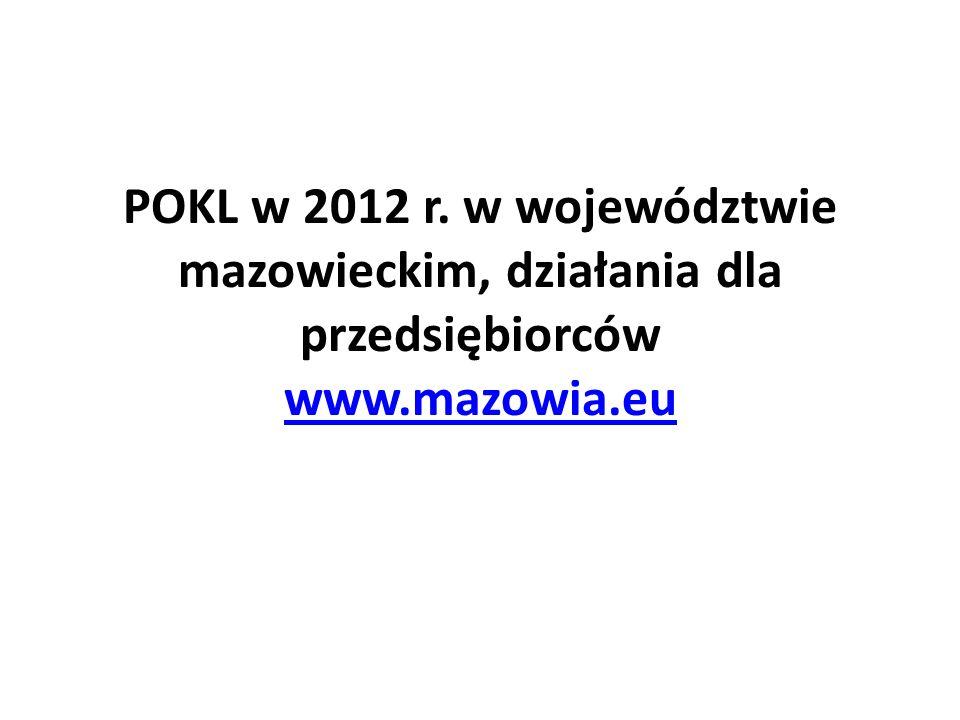 POKL w 2012 r. w województwie mazowieckim, działania dla przedsiębiorców www.mazowia.eu www.mazowia.eu