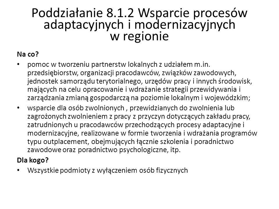 Poddziałanie 8.1.2 Wsparcie procesów adaptacyjnych i modernizacyjnych w regionie Na co? pomoc w tworzeniu partnerstw lokalnych z udziałem m.in. przeds