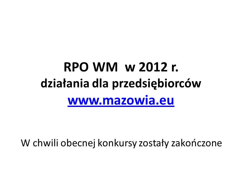 RPO WM w 2012 r. działania dla przedsiębiorców www.mazowia.eu www.mazowia.eu W chwili obecnej konkursy zostały zakończone