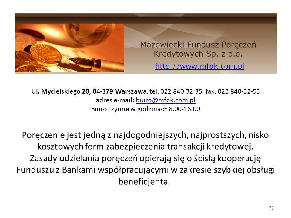 72 http://www.mfpk.com.pl Ul. Mycielskiego 20, 04-379 Warszawa, tel. 022 840 32 35, fax. 022 840-32-53 adres e-mail: biuro@mfpk.com.plbiuro@mfpk.com.p