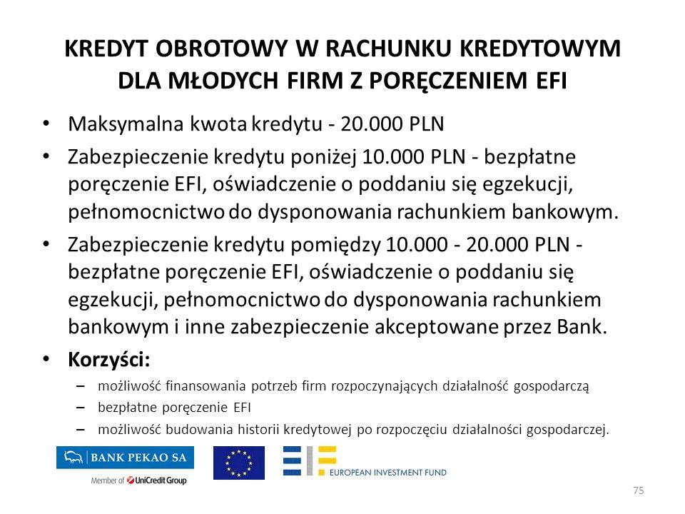 KREDYT OBROTOWY W RACHUNKU KREDYTOWYM DLA MŁODYCH FIRM Z PORĘCZENIEM EFI Maksymalna kwota kredytu - 20.000 PLN Zabezpieczenie kredytu poniżej 10.000 P