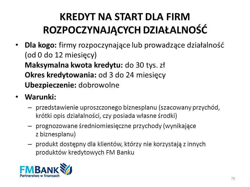 KREDYT NA START DLA FIRM ROZPOCZYNAJĄCYCH DZIAŁALNOŚĆ Dla kogo: firmy rozpoczynające lub prowadzące działalność (od 0 do 12 miesięcy) Maksymalna kwota