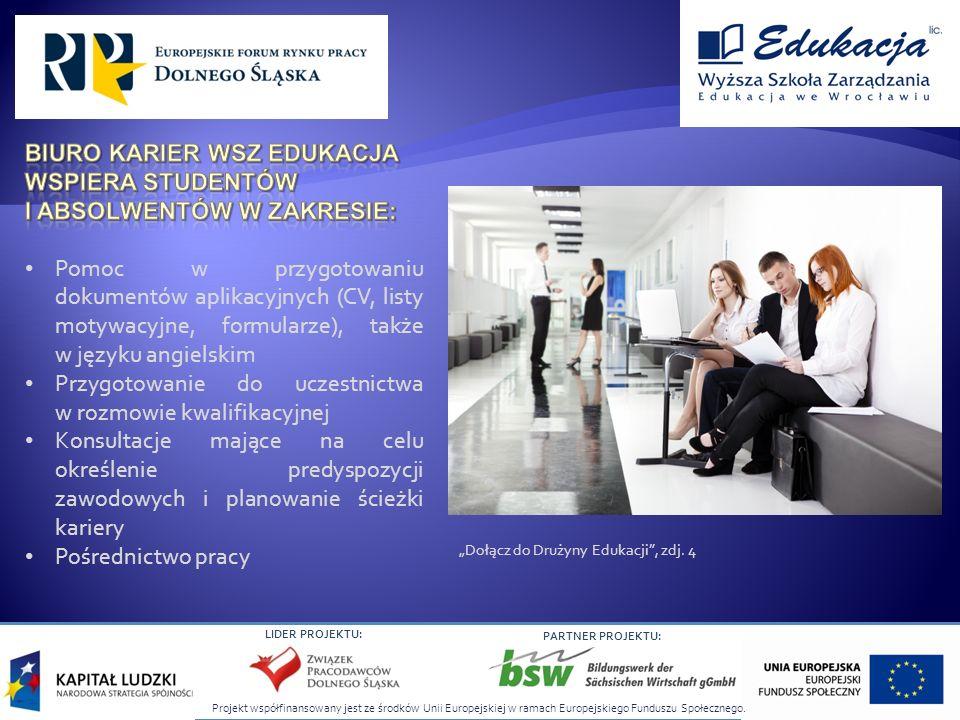 Projekt współfinansowany jest ze środków Unii Europejskiej w ramach Europejskiego Funduszu Społecznego. LIDER PROJEKTU: PARTNER PROJEKTU: Dołącz do Dr