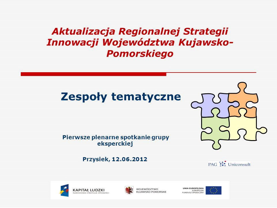 Aktualizacja Regionalnej Strategii Innowacji Województwa Kujawsko- Pomorskiego Zespoły tematyczne Pierwsze plenarne spotkanie grupy eksperckiej Przysiek, 12.06.2012