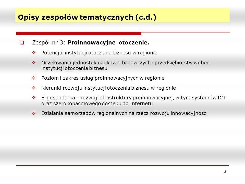 Opisy zespołów tematycznych (c.d.) 8 Zespół nr 3: Proinnowacyjne otoczenie.