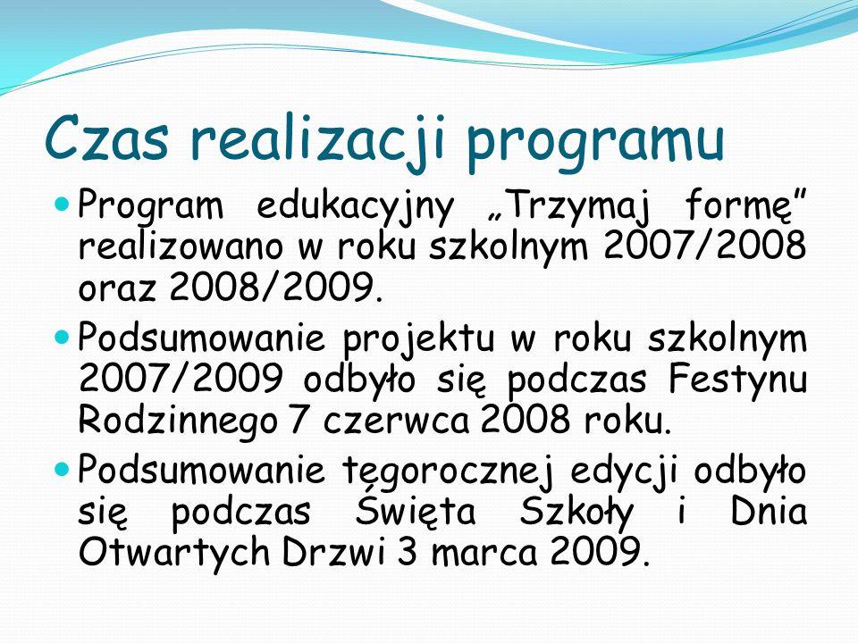 Czas realizacji programu Program edukacyjny Trzymaj formę realizowano w roku szkolnym 2007/2008 oraz 2008/2009. Podsumowanie projektu w roku szkolnym