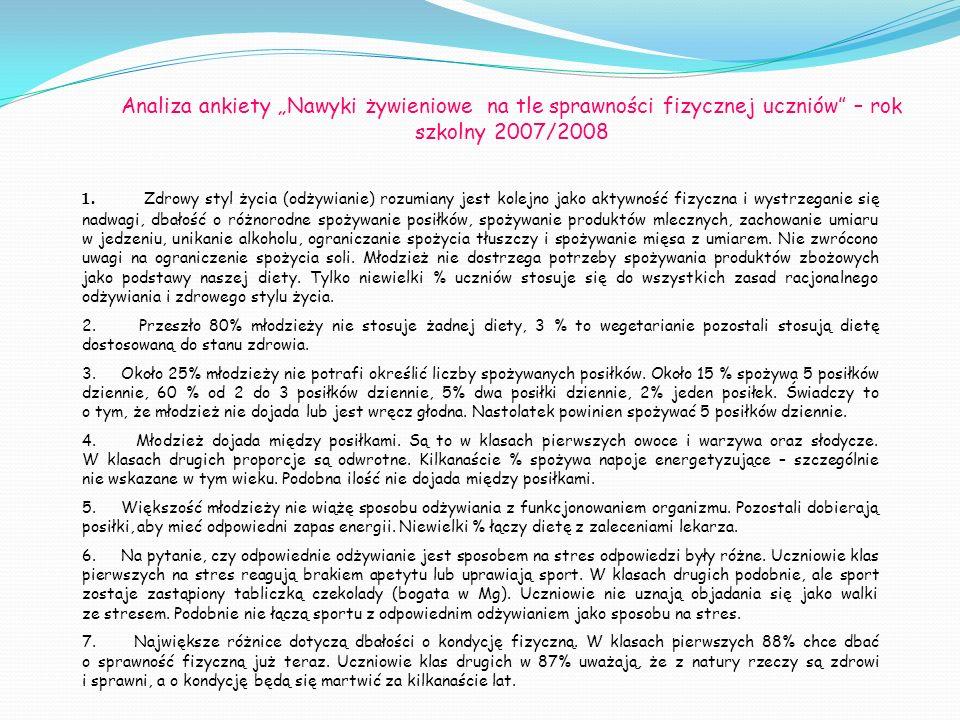 Analiza ankiety Nawyki żywieniowe na tle sprawności fizycznej uczniów – rok szkolny 2007/2008 1. Zdrowy styl życia (odżywianie) rozumiany jest kolejno