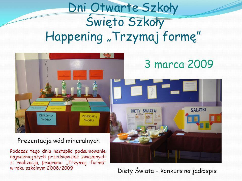 Dni Otwarte Szkoły Święto Szkoły Happening Trzymaj formę Diety Świata – konkurs na jadłospis Prezentacja wód mineralnych 3 marca 2009 Podczas tego dni