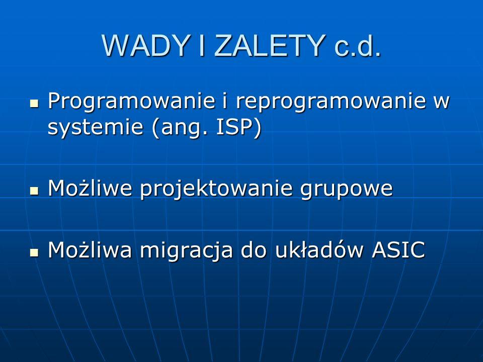 WADY I ZALETY c.d. Programowanie i reprogramowanie w systemie (ang. ISP) Programowanie i reprogramowanie w systemie (ang. ISP) Możliwe projektowanie g