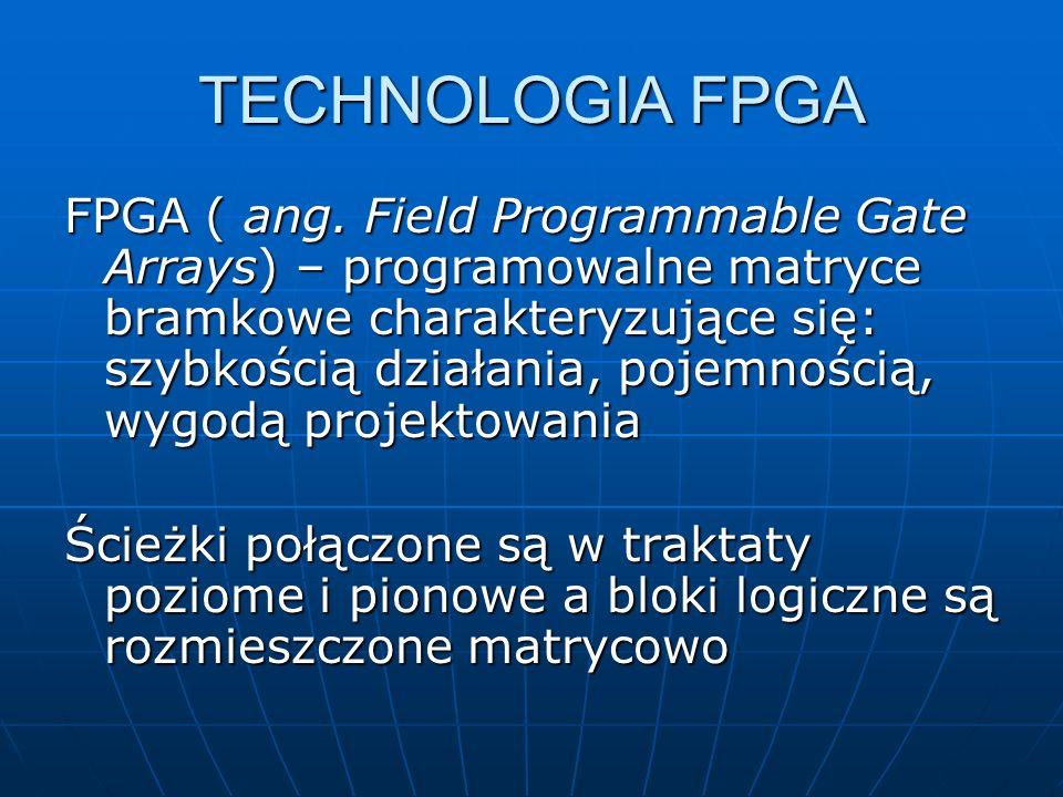 TECHNOLOGIA FPGA FPGA ( ang. Field Programmable Gate Arrays) – programowalne matryce bramkowe charakteryzujące się: szybkością działania, pojemnością,