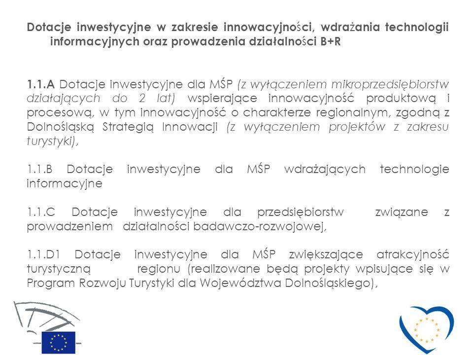 1.1.D2 Dotacje inwestycyjne dla przedsiębiorstw prowadzących działalność uzdrowiskową zlokalizowanych w miejscowościach uzdrowiskowych 1.1.E Dotacje inwestycyjne wspierające rozwój mikroprzedsiębiorstw prowadzących działalność gospodarczą do 2 lat 1.1.F Dotacje inwestycyjne dostosowujące MŚP do wymogów wynikających z prawa krajowego i wspólnotowego w zakresie ochrony środowiska oraz projekty w zakresie zwiększania efektywności energetycznej.