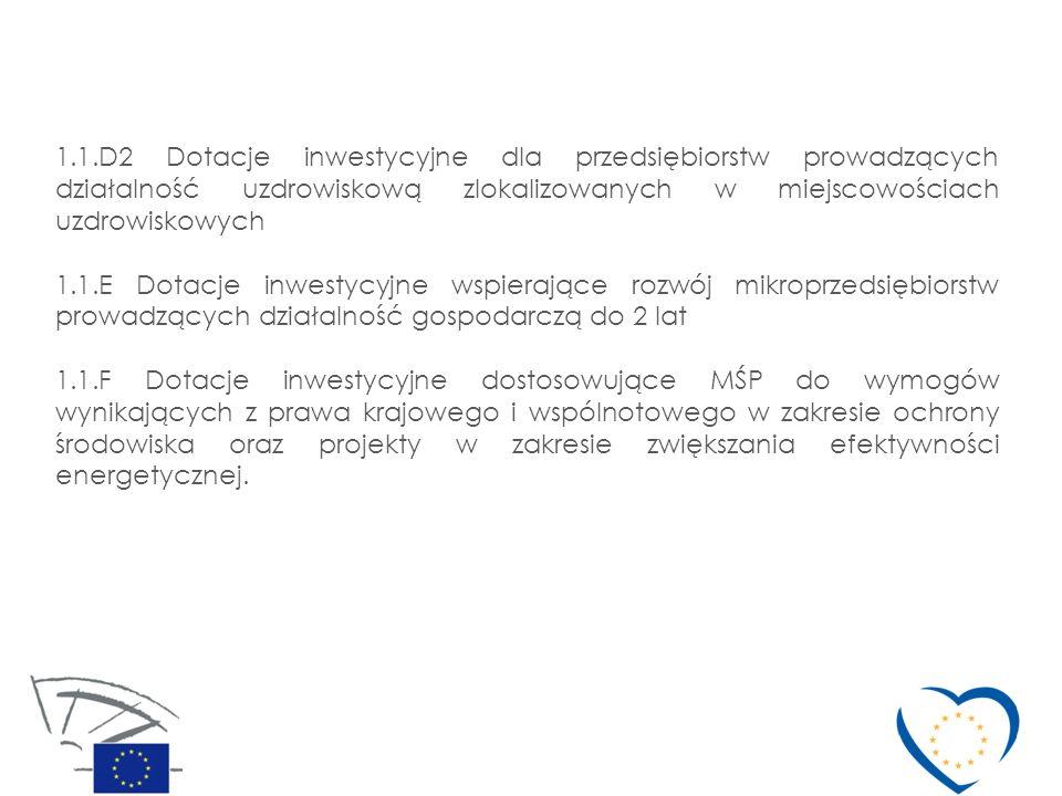 1.1.D2 Dotacje inwestycyjne dla przedsiębiorstw prowadzących działalność uzdrowiskową zlokalizowanych w miejscowościach uzdrowiskowych 1.1.E Dotacje i