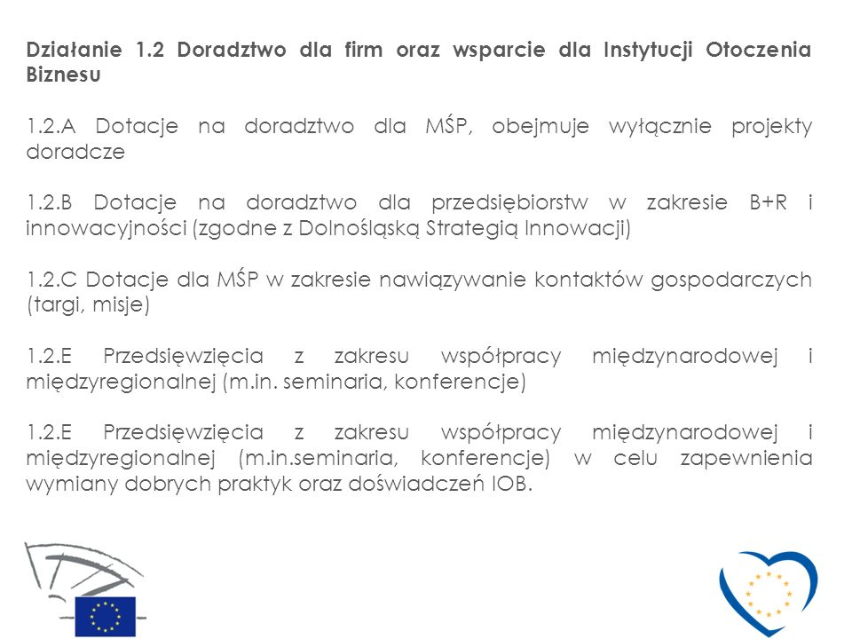 Działanie 1.2 Doradztwo dla firm oraz wsparcie dla Instytucji Otoczenia Biznesu 1.2.A Dotacje na doradztwo dla MŚP, obejmuje wyłącznie projekty doradc