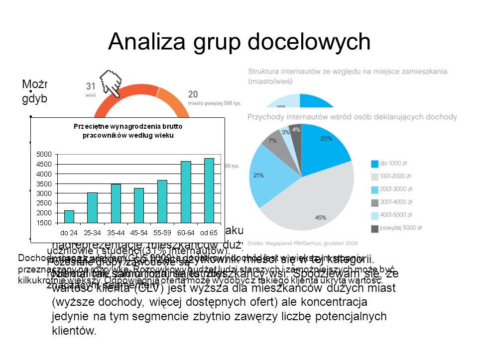 Analiza grup docelowych 31% internautów deklaruje brak dochodów Duża część zarabiających internautów dysponuje dochodem 1-2 tys. zł Po 20% stanowią gr