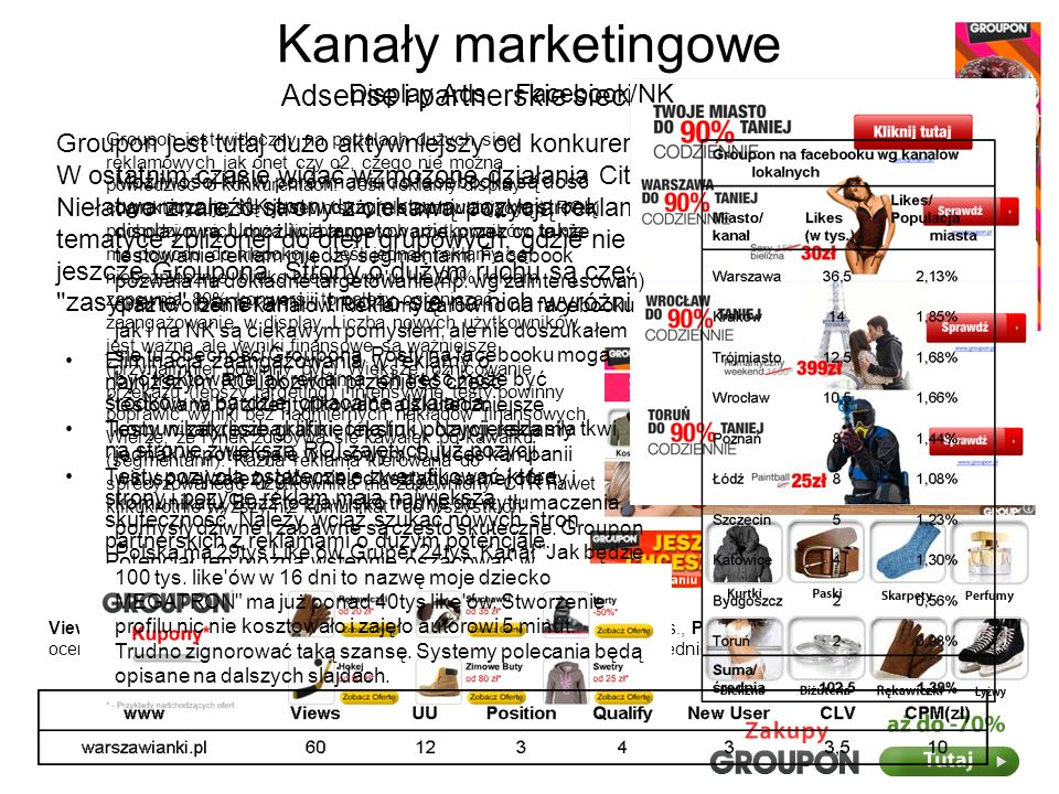 Kanały marketingowe Strona www LandingPage jest zachęcający, ale nie przekonujący.