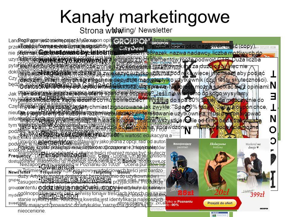 Kanały marketingowe Strona www LandingPage jest zachęcający, ale nie przekonujący. Większość użytkowników nie poda swojego maila zanim nie uzyskają od