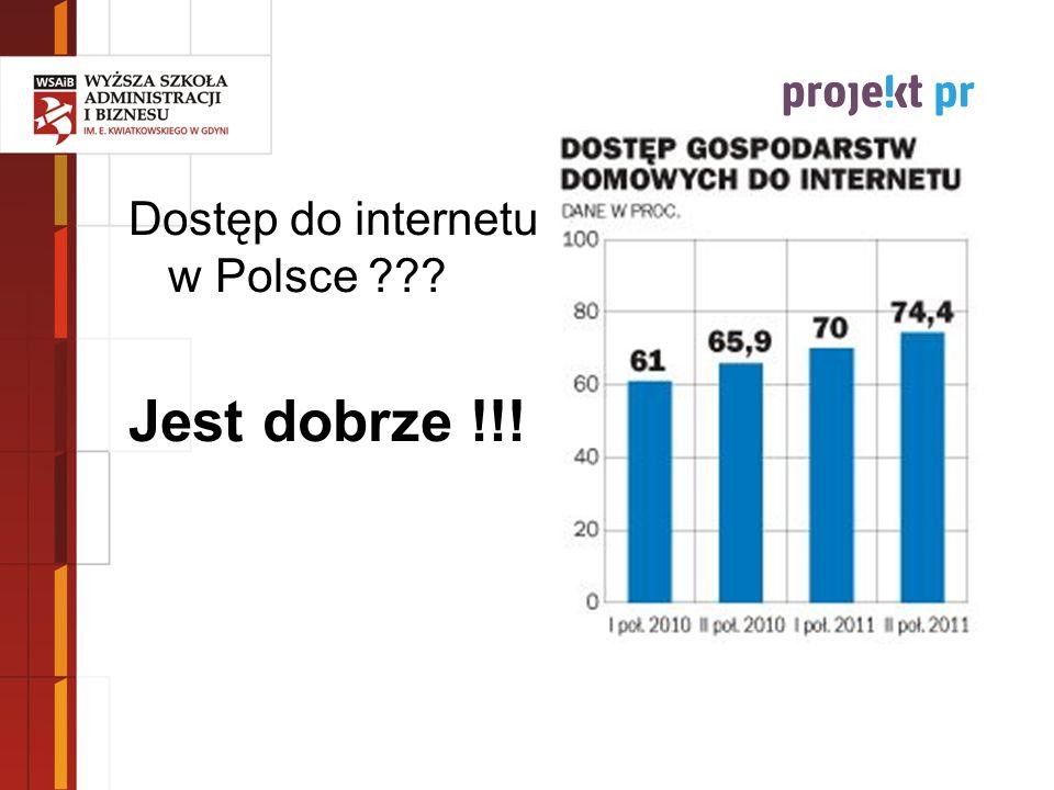 Dostęp do internetu w Polsce ??? Jest dobrze !!! Źródło: opracowanie własne na podstawie: Eurostat 2009; www.internetstats.pl