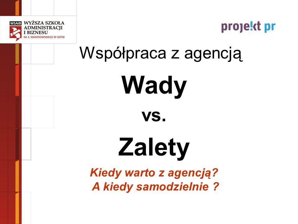 Współpraca z agencją Wady vs. Zalety Kiedy warto z agencją? A kiedy samodzielnie ?